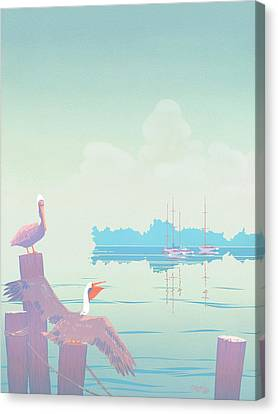 Abstract Pelicans Tropical Florida Seascape Sailboats Large Pop Art Nouveau 1980s Stylized Painting Canvas Print by Walt Curlee