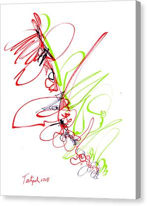 Abstract Pen Drawing Seventy Canvas Print by Lynne Taetzsch