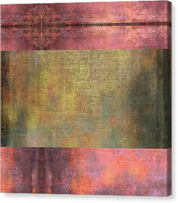 Abstract Pink And Green Metallic Rectangle Canvas Print by Brandi Fitzgerald