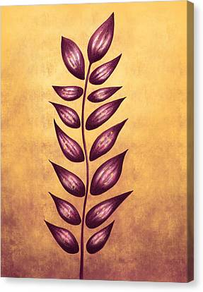 Abstract Plant With Pointy Leaves In Purple And Yellow Canvas Print