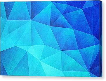 Abstract Polygon Multi Color Cubizm Painting In Ice Blue Canvas Print by Philipp Rietz