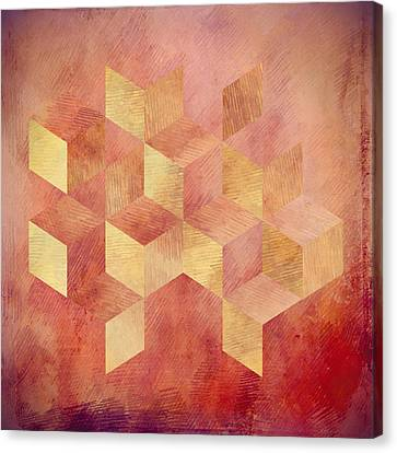 Abstract Red And Gold Geometric Cubes Canvas Print