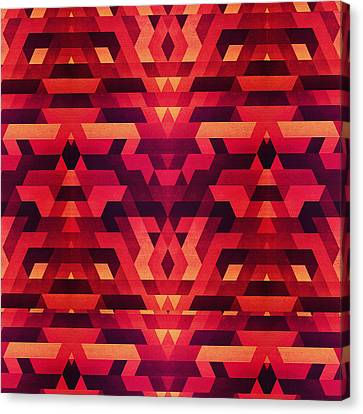 Abstract Red Geometric Triangle Texture Pattern Design Digital Futrure  Hipster  Fashion Canvas Print