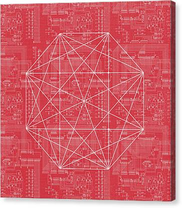 Geometric Canvas Print - Abstract Red Octagon Line Art by Brandi Fitzgerald