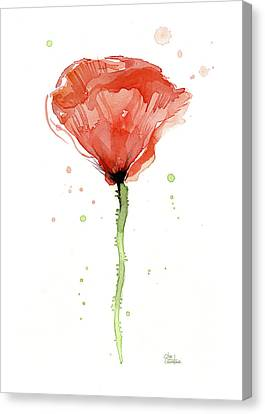 Abstract Red Poppy Watercolor Canvas Print
