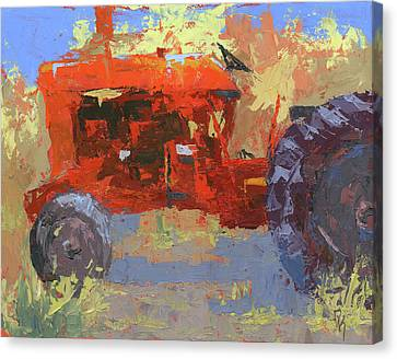 Abstract Red Tractor Canvas Print
