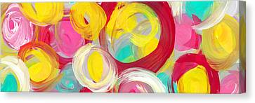 Abstract Rose Garden In The Morning Light Panoramic Canvas Print