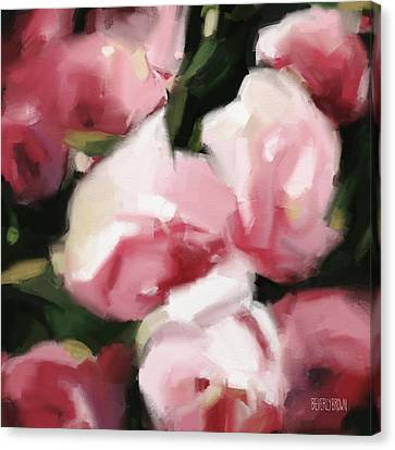 Abstract Roses Dark And Light Pink Canvas Print by Beverly Brown