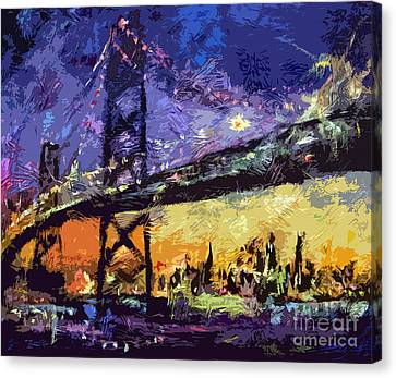 Abstract San Francisco Oakland Bay Bridge At Night Canvas Print