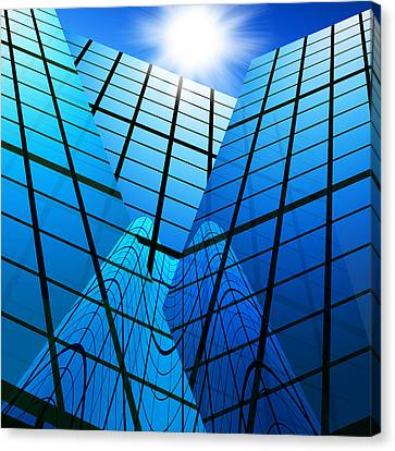 Reflection Canvas Print - Abstract Skyscrapers by Setsiri Silapasuwanchai
