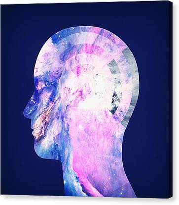 Abstract Space Universe  Galaxy Face Silhouette  Canvas Print