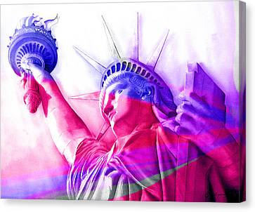 Canvas Print featuring the painting Abstract Statue Of Liberty 7 by J- J- Espinoza