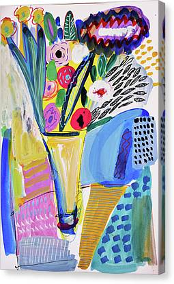 Abstract Still Life With Flowers Canvas Print by Amara Dacer