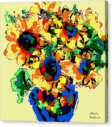 Abstract Sunflower Bouquet Canvas Print by Natalie Holland
