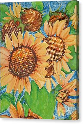 Canvas Print featuring the painting Abstract Sunflowers by Chrisann Ellis