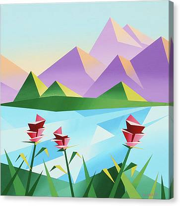 Abstract Sunrise At The Mountain Lake 2 Canvas Print