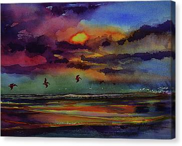 Abstract Beach Sunrise With Pelicans 7-10-17 Canvas Print