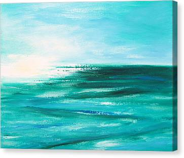 Abstract Sunset In Blue And Green 2 Canvas Print by Gina De Gorna