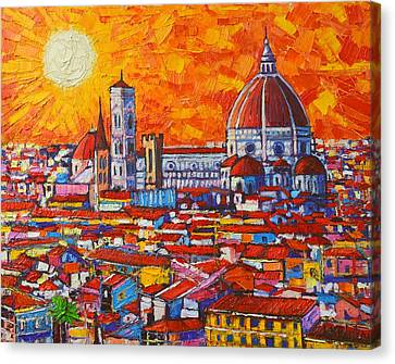 Scenes Of Italy Canvas Print - Abstract Sunset Over Duomo In Florence Italy by Ana Maria Edulescu