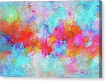 Canvas Print featuring the painting Abstract Sunset Painting With Colorful Clouds Over The Ocean by Ayse Deniz
