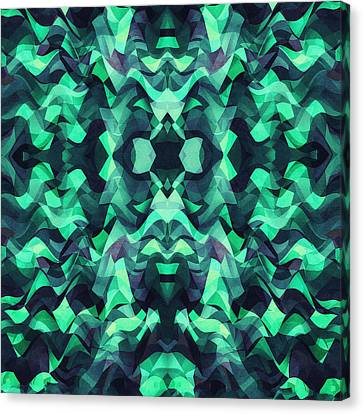 Abstract Surreal Chaos Theory In Modern Poison Turquoise Green Canvas Print by Philipp Rietz