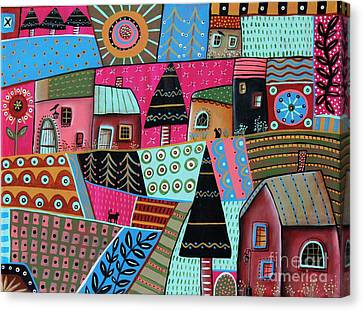 Abstract Town Canvas Print by Karla Gerard