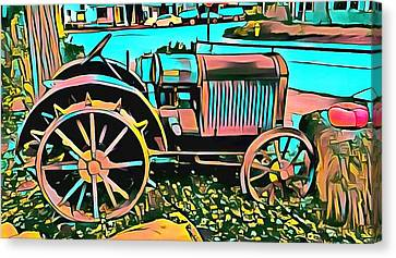 Canvas Print featuring the digital art Abstract Tractor Los Olivos California by Floyd Snyder