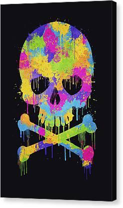 Tag Canvas Print - Abstract Trendy Graffiti Watercolor Skull  by Philipp Rietz