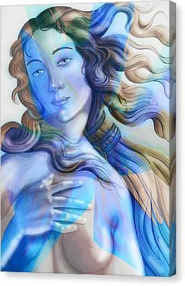 Canvas Print featuring the painting Abstract Venus Birth 4 by J- J- Espinoza