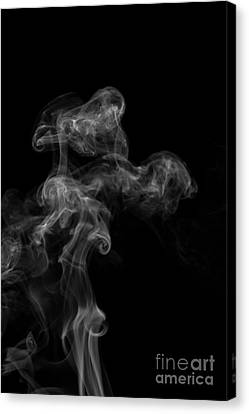 Abstract Vertical Monochrome White Mood Colored Smoke Wall Art 04 Canvas Print by Alexandra K
