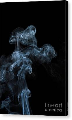 Abstract Vertical White Mood Colored Smoke Wall Art 04 Canvas Print by Alexandra K