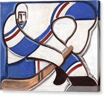 Hockey Canvas Print - Abstract Vintage Hockey Player Art by Tommervik