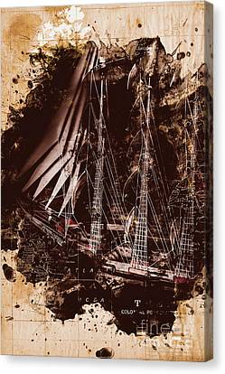 Abstract Vintage Ship And Old World Paper Map Canvas Print by Jorgo Photography - Wall Art Gallery