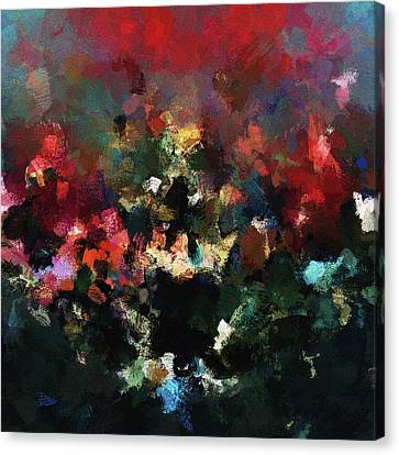 Canvas Print featuring the painting Abstract Wall Art In Dark Colors by Ayse Deniz