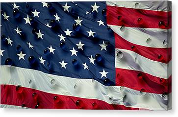 Canvas Print featuring the painting Abstract Water Drops On Usa Flag by Georgeta Blanaru
