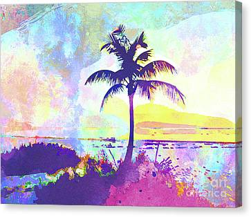 Beach Chair Canvas Print - Abstract Watercolor - Beach Sunset I by Chris Andruskiewicz