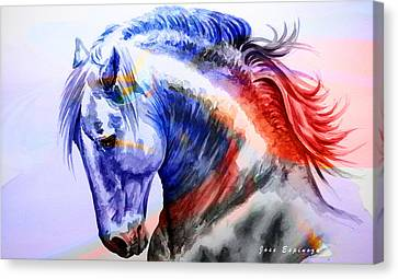 Canvas Print featuring the painting Abstract White Horse 44 by J- J- Espinoza