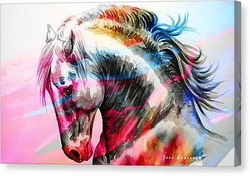 Abstract White Horse 45 Canvas Print by J- J- Espinoza