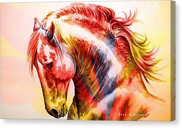 Canvas Print featuring the painting Abstract White Horse 46 by J- J- Espinoza