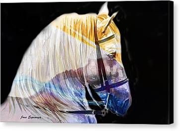 Canvas Print featuring the painting Abstract White Horse 50 by J- J- Espinoza