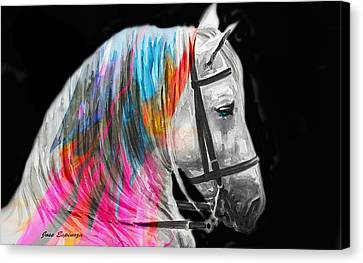 Canvas Print featuring the painting Abstract White Horse 54 by J- J- Espinoza