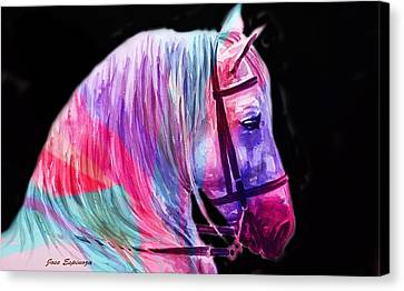 Canvas Print featuring the painting Abstract White Horse 55 by J- J- Espinoza