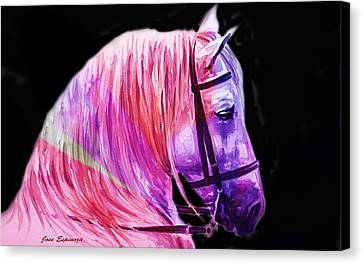 Canvas Print featuring the painting Abstract White Horse 56 by J- J- Espinoza
