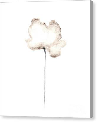Abstract White Poppy Watercolor Art Print Painting Canvas Print by Joanna Szmerdt