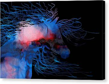 Abstract Wild Horse Red White And Blue Canvas Print by Michelle Wrighton