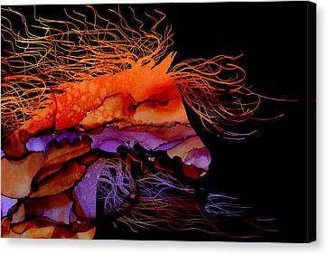 Abstract Wild Horse - Vibrant Purple And Orange Canvas Print by Michelle Wrighton