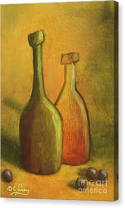 Abstract Wine Bottles Canvas Print by Dave Casey