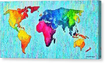 Abstract World Map 10 - Da Canvas Print