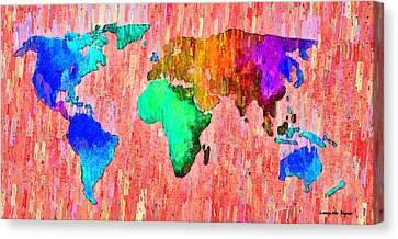 Abstract World Map 11 - Da Canvas Print by Leonardo Digenio