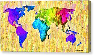 Border Canvas Print - Abstract World Map 12 - Da by Leonardo Digenio